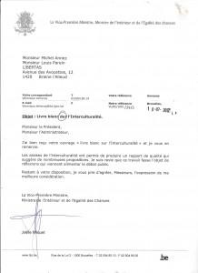 Réponse Milquet sur lettre Libertas- LBlans interculturalité